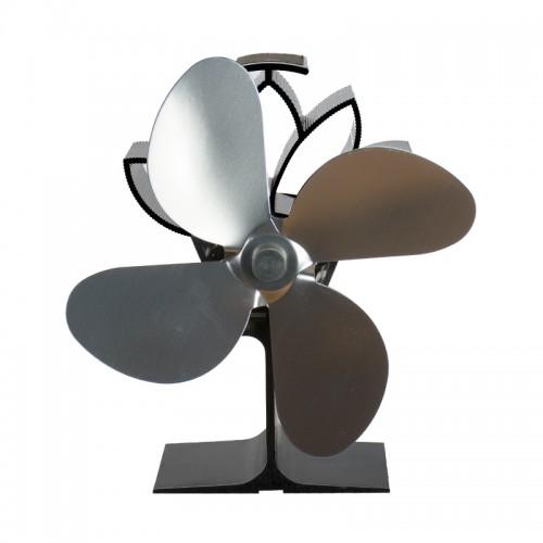 Termoelektrický ventilátor krbový  stříbrný